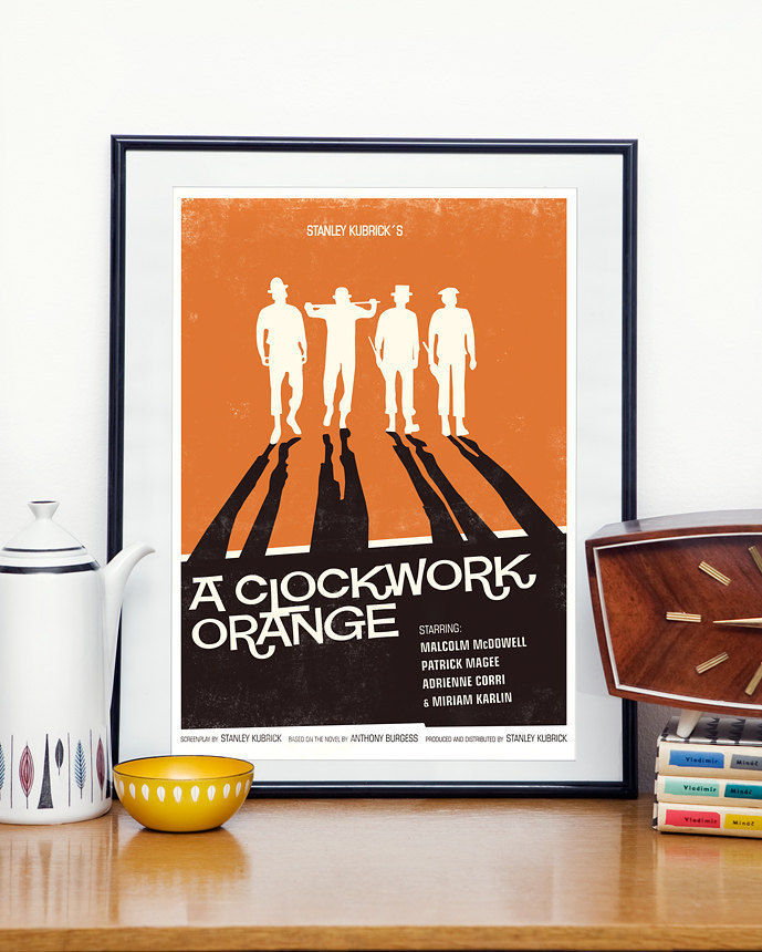 Movie Poster  retro print - Stanley Kubrick - A Clockwork Orange  modernist  vintage style A3 - product image