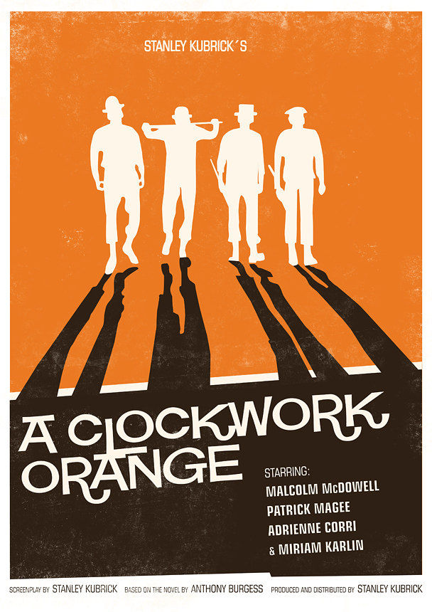 Movie Poster  retro print - Stanley Kubrick - A Clockwork Orange  modernist  vintage style A3 - product images  of
