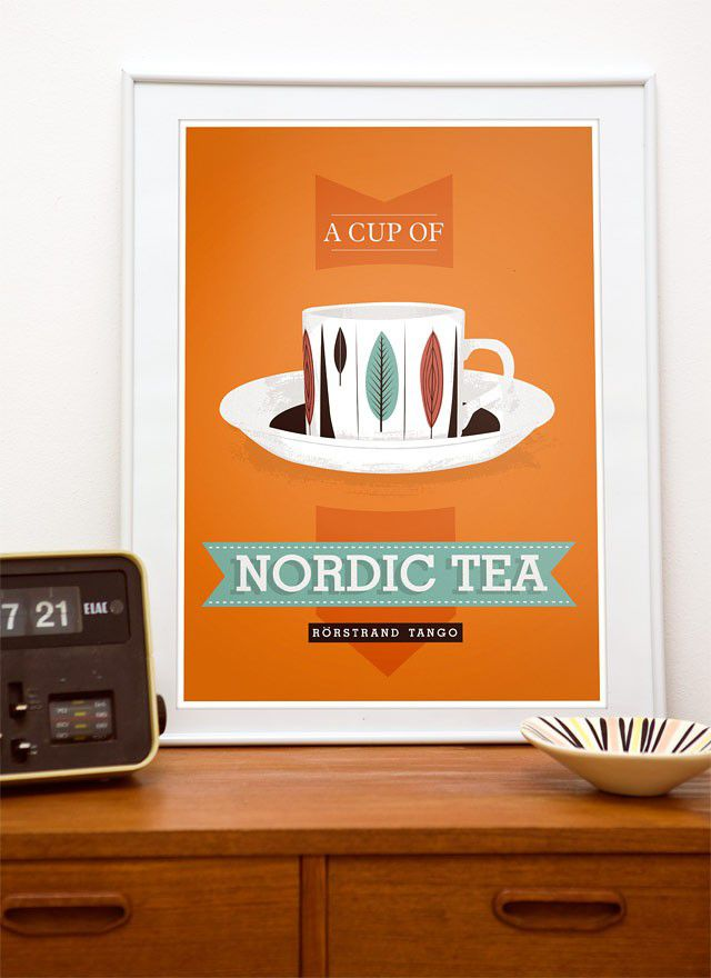 Kitchen print  tea typography poster art  - Nordic Tea - scandinavian retro print rorstrand a3 - product image