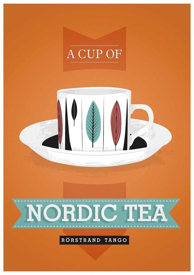 Kitchen print  tea typography poster art  - Nordic Tea - scandinavian retro print rorstrand a3 - product images  of