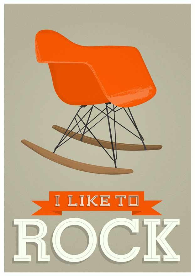 Nursery print Retro Poster mid century art  -  Eames rocking chair - I Like to Rock -  Vanilla, A2 size - product images  of