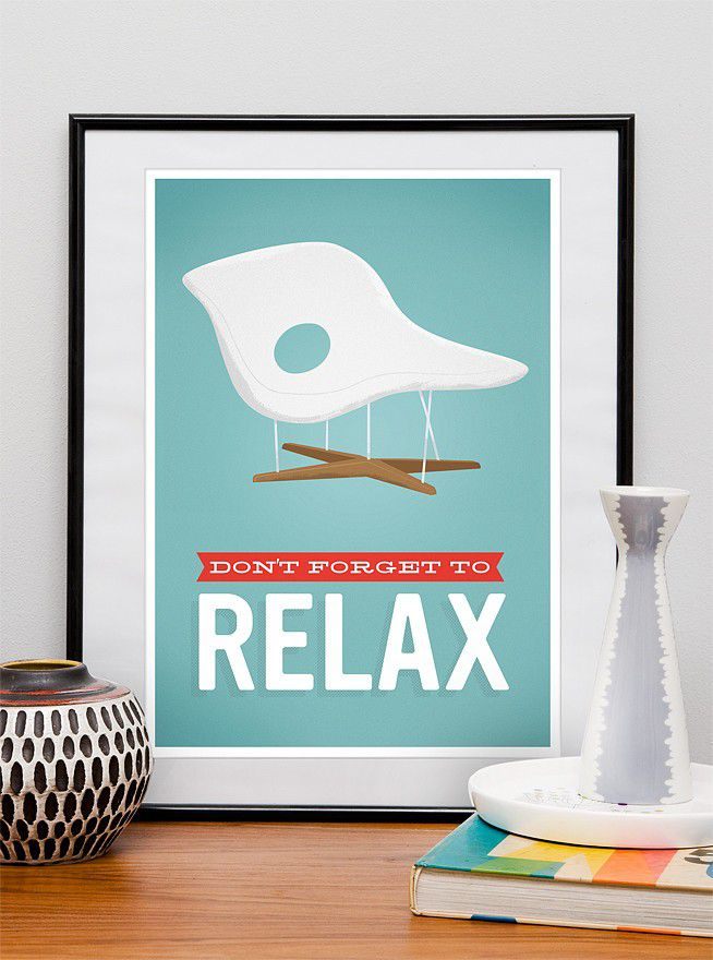 Eames Poster print Mid century  Office decor poster  Retro art print dont forget to relax a3 - product image