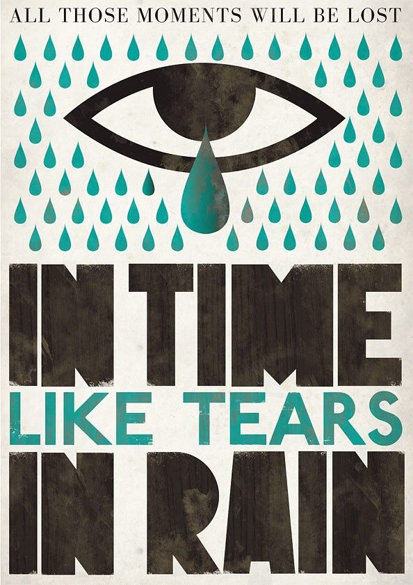 Typography print  Movie poster Blade runner  Scandinavian style Tears in rain   A2 size - product images  of