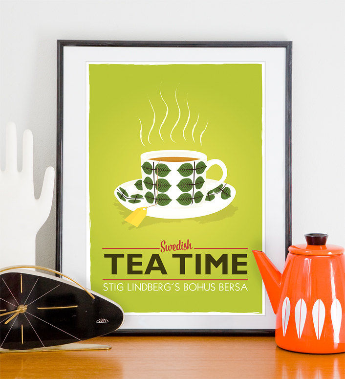 Tea print Kitchen art  Mid Century Modern Stig Lindberg - Swedish Tea time Lime A4 - product image