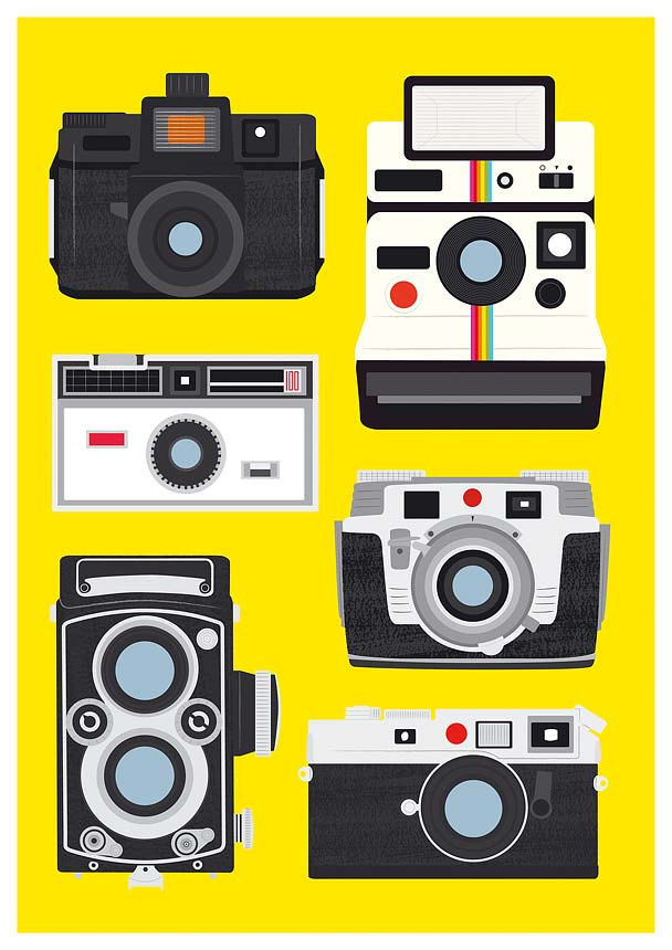 Retro Print Poster -  Polaroid, Rolleiflex, Holga - Cool Cameras -  A2, 16.54 x 23.39 inch size - product images  of
