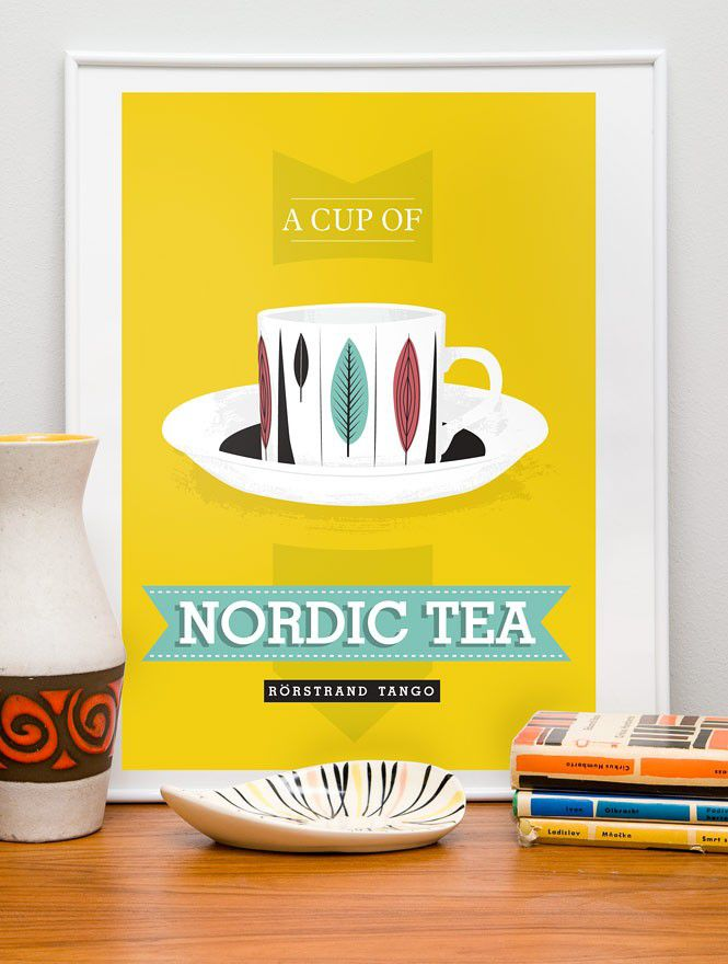 Tea cup  print kitchen art poster    - Nordic Tea  Rorstrand scandinavian retro - product image