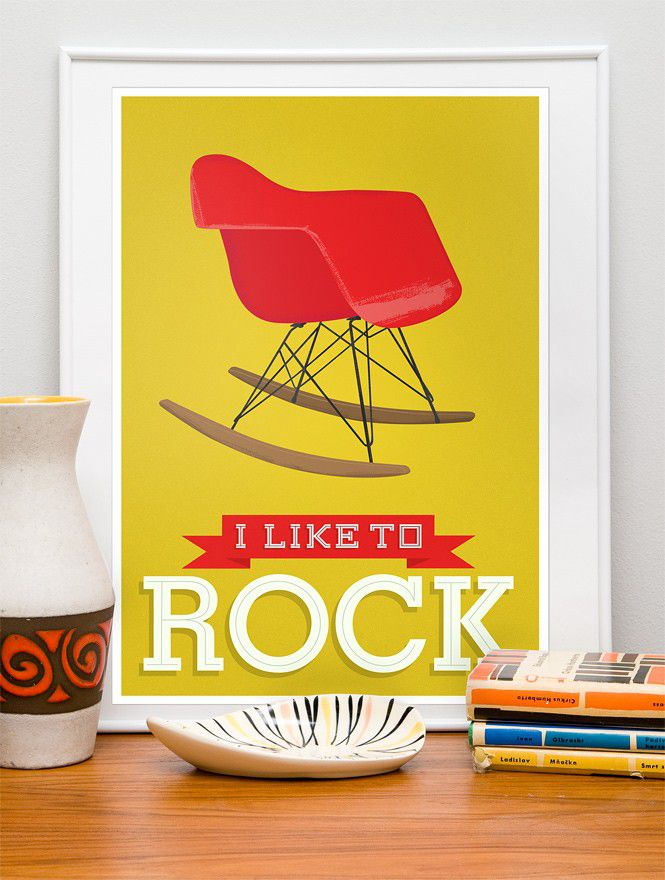 Eames Nursery art Typography print  chair art - I loke to rock -  Yellow - product image