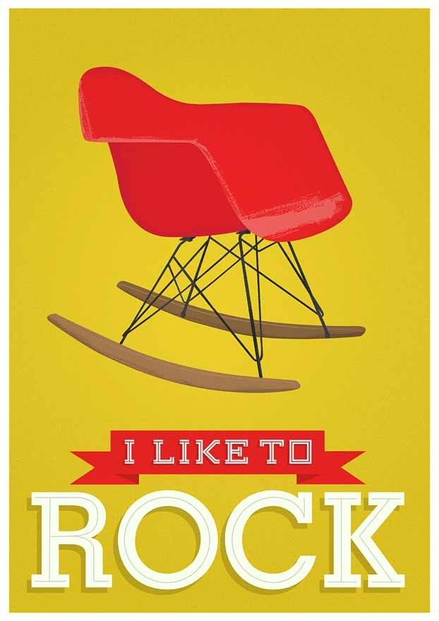 Eames Nursery art Typography print  chair art - I loke to rock -  Yellow - product images  of