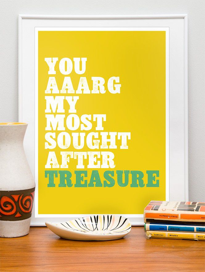 Typography Quote print  letterpress poster styled - Pirate love retro art  A3