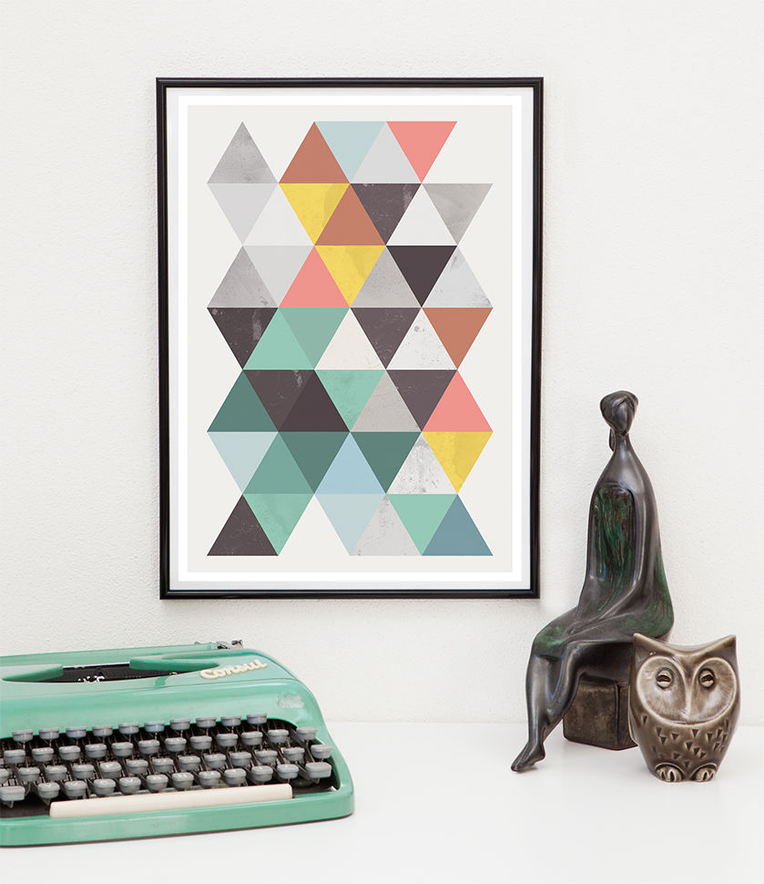 Abstract poster, colorful geometric art print,  - product image