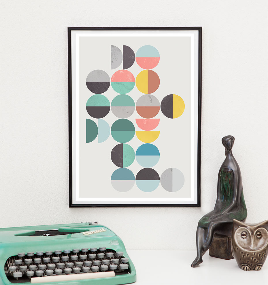 Abstract pritn, Colorful geometric art, Scandinavian art print - product image