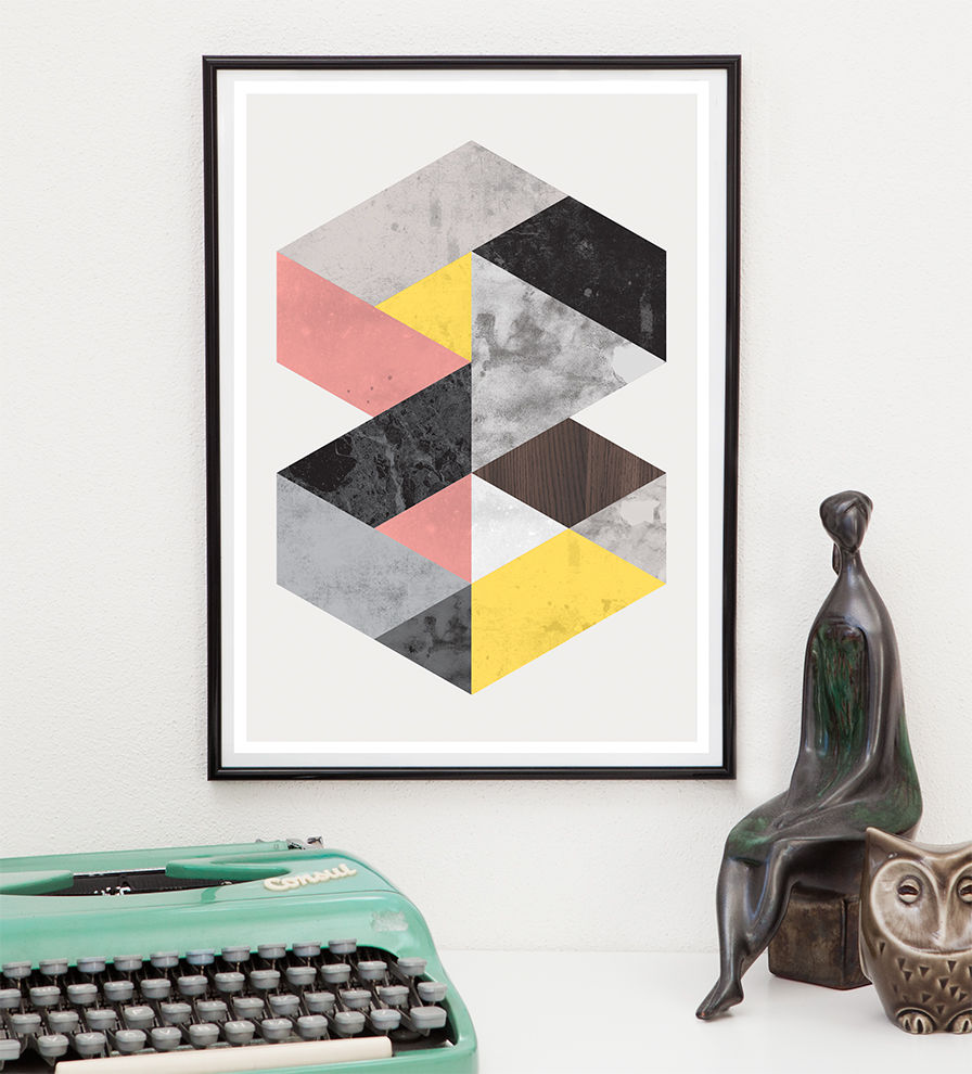 Geometric marble abstract print, Minimalist modern wall art - product image