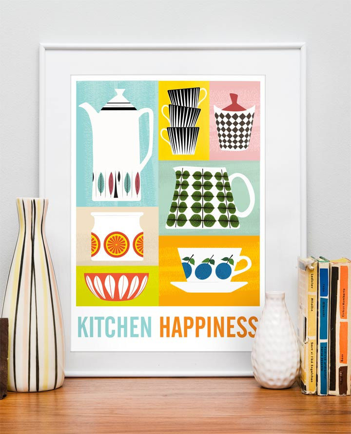 Kitchen happiness poster, Stig Lindberg Scandinavian print - product image