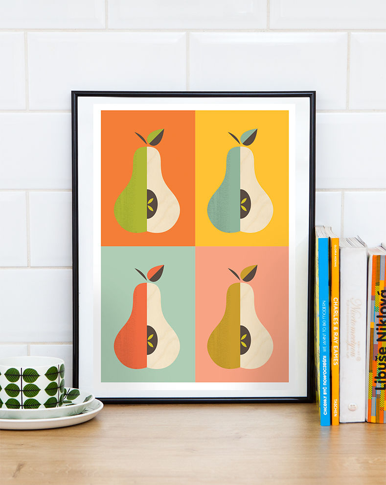 Retro kitchen poster, scandinavian pears print, colorful wall art - product image