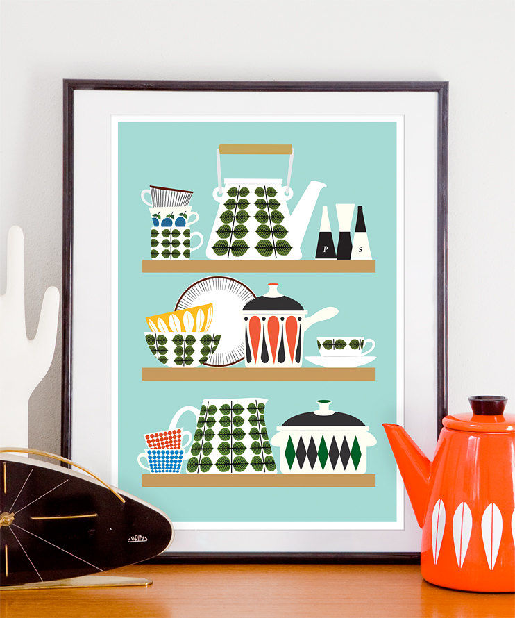 Stig Lindberg kitchen print, Retro kitchen poster, Scandinavian art - product image