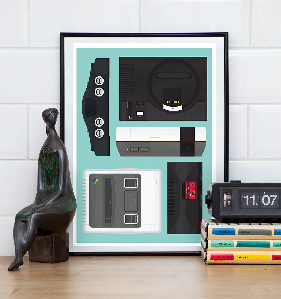 Retro Consoles Video Game Poster, SNES print, Nintendo poster - product image