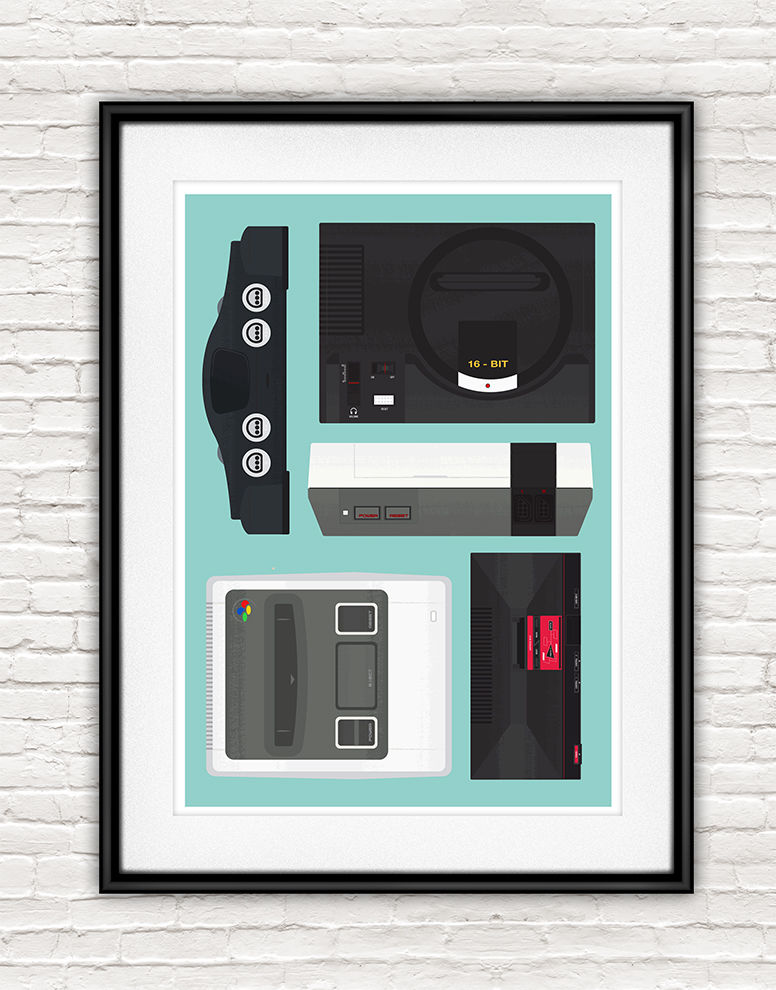 Retro Consoles Video Game Poster, SNES print, Nintendo poster - product images  of