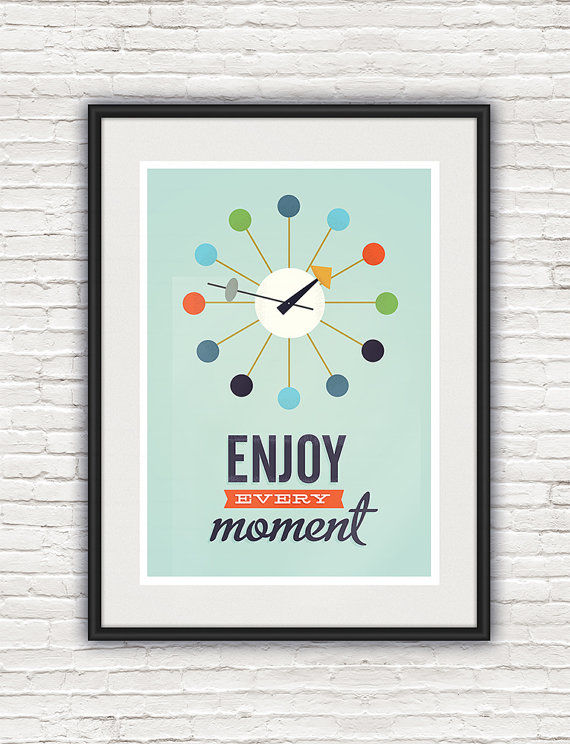 Inspirational quote print, Mid century modern poster, George Nelson clock print - product image