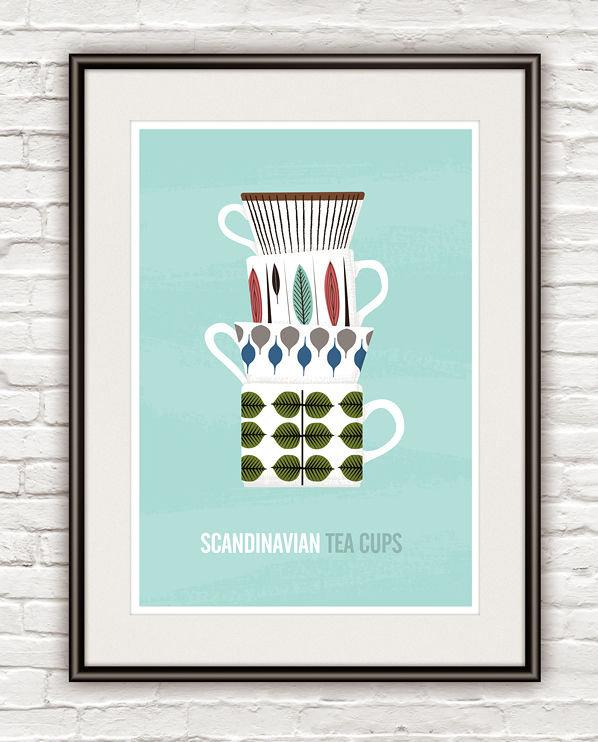 Stig Lindberg kitchen poster, Tea cups print, Scandinavian art - product image