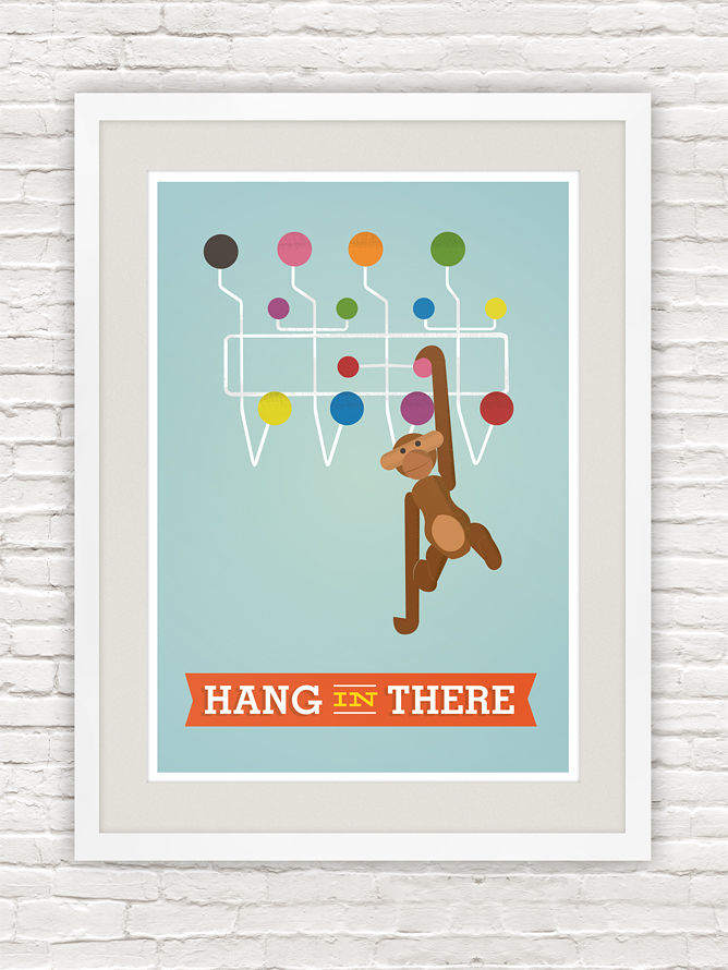 Hang in there quote print, Kaj Bojesen monkey poster, Mid century modern art - product images  of