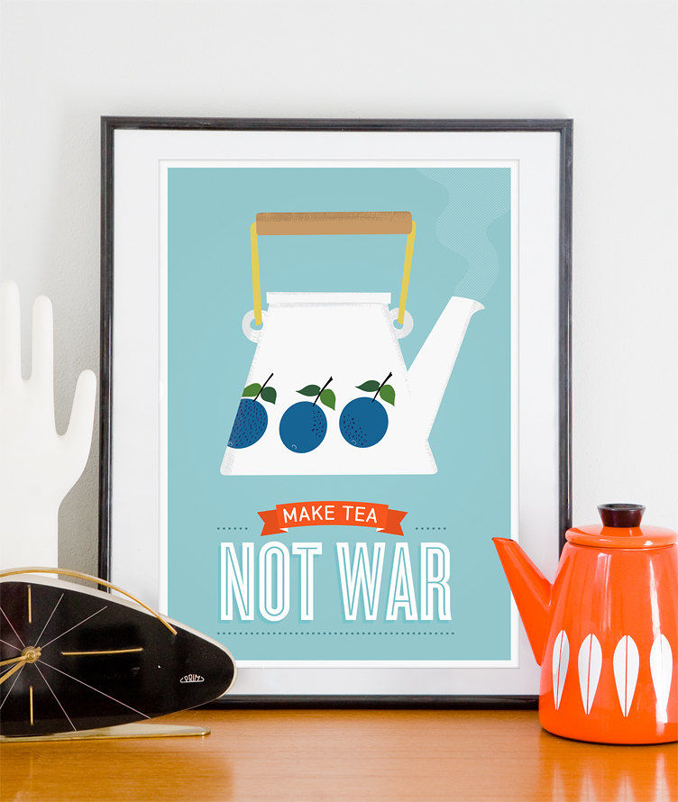 Tea print, Stig Lindberg poster, inspirational quote poster, make tea not war - product image