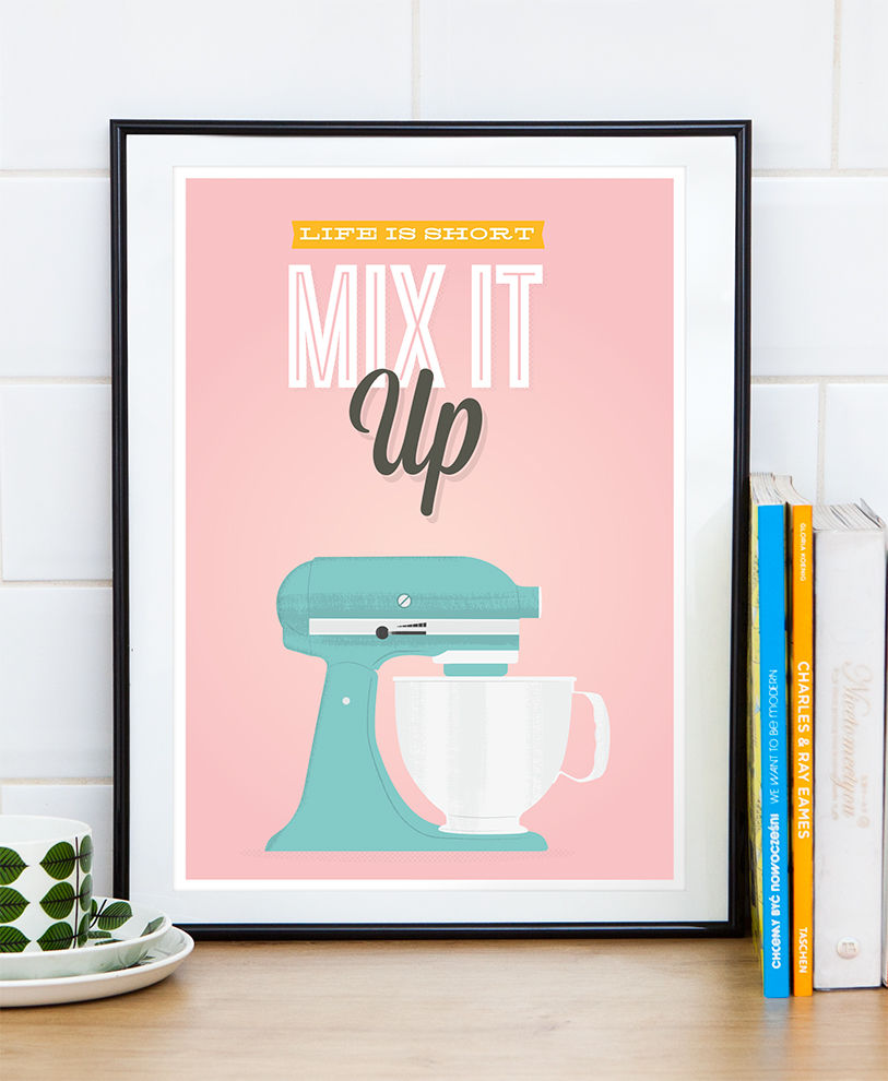 Retro kitchen print, Kitchen aid poster, motivational quote art, mix it up - product images  of