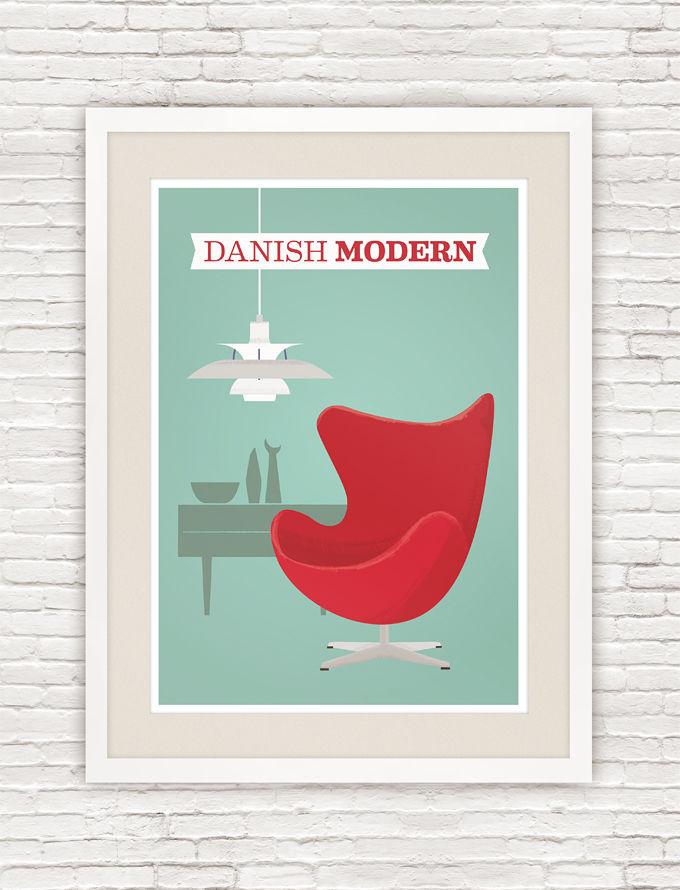 Danish Modern Poster Arne Jacobsen Egg Chair Print Mid Century Art Product