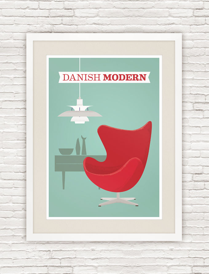 Danish modern poster, Arne Jacobsen Egg chair print, mid century modern art - product images  of