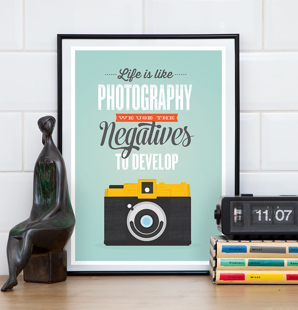 Inspirational quote retro camera poster - life is like photography - product image