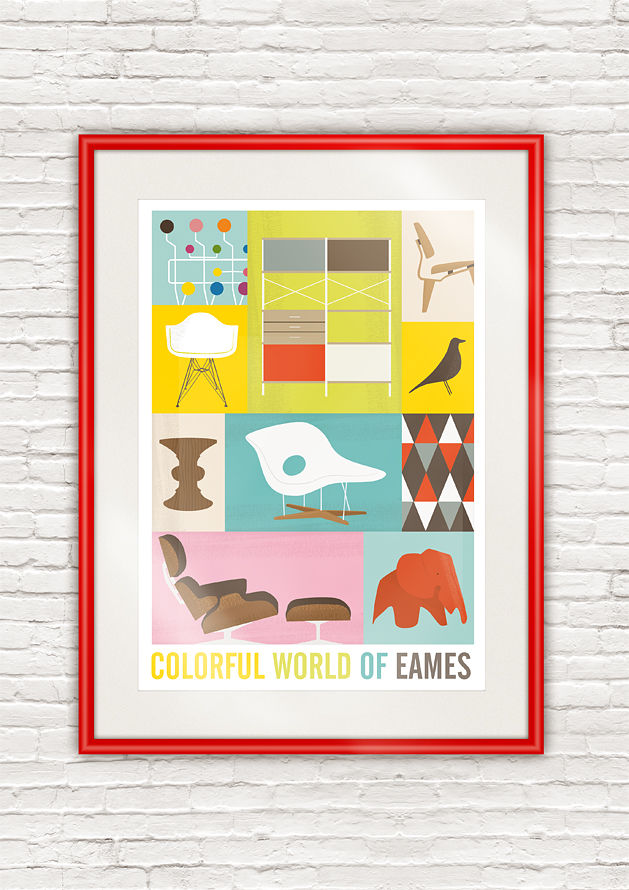 Eames poster, mid century modern art, Eames furniture art print - product images  of