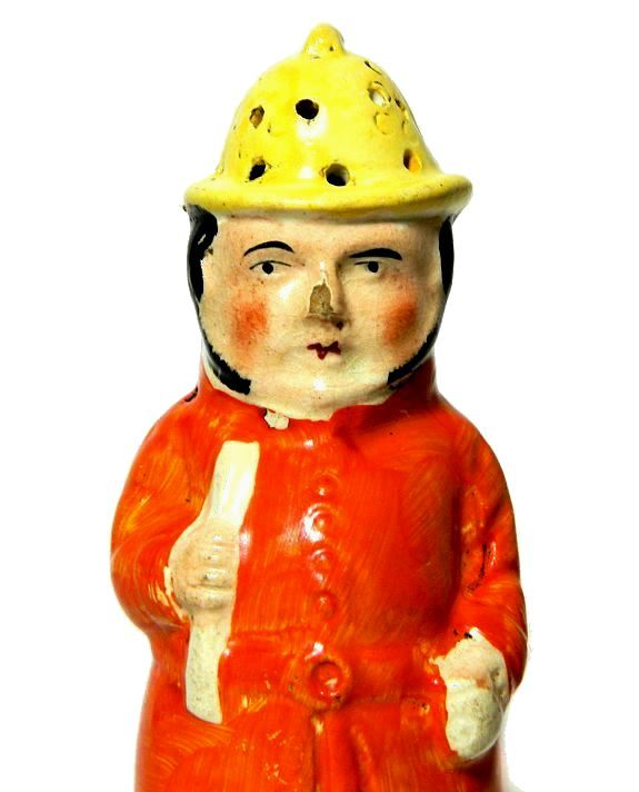 Antique Staffordshire Fireman Figural Pepper Pot - product images  of