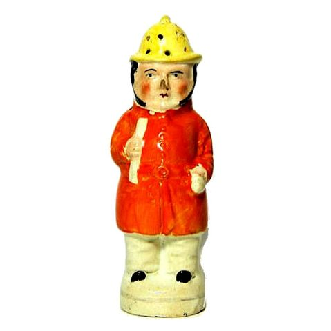 Antique,Staffordshire,Fireman,Figural,Pepper,Pot,antique pepper pot, english pepper pot, fireman figural pepper shaker