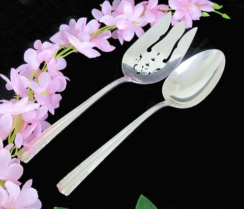 Alvin,Sterling,Silver,Serving,Spoon,and,Slotted,Fork,1930,Chapel,Bells,sterling silver serving fork, sterling silver serving spoon, alvin sterling silver, chapel bells pattern silver