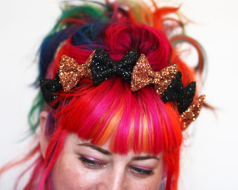 Glitter,Bow,Crown,Headband,,Various,Colours,Accessories,Hair,Headband,stars,gold,glitter,starry,golden,sparkly,fun,cute,janinebasil,uk,gold_headband,star_headband,elastic_headband,cotton_twill,elastic,felt
