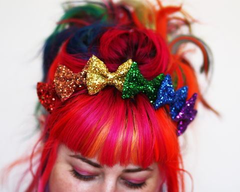 Rainbow,Glitter,Bow,Crown,Headband,,or,Pastel,Accessories,Hair,Headband,stars,gold,glitter,starry,golden,sparkly,fun,cute,janinebasil,uk,gold_headband,star_headband,elastic_headband,cotton_twill,elastic,felt