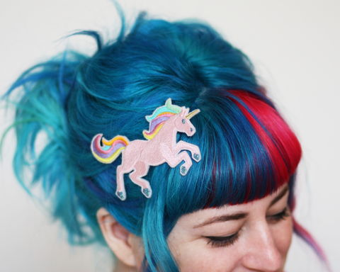 Unicorn,Hair,Clip,Accessories,women,janine_basil,hair_clip,barette,hair_barrette,cute_barrette,unicorn, pastels,silver_hair_clip,metallic,polyester_felt,rayon_thread,elastic