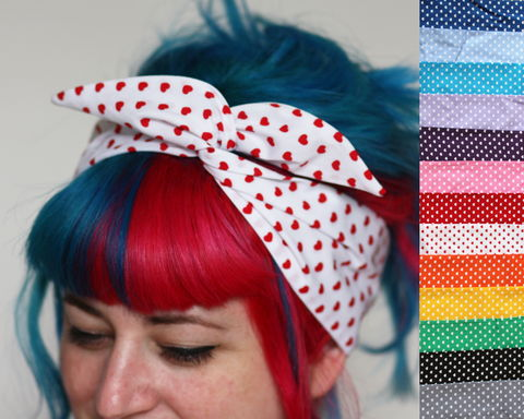 Heart,Shaped,Polka,Dot,Wired,Bow,Headband,,Choice,of,Colours,dolly bow headband, wired, tie hair band