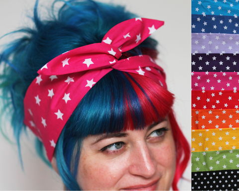Star,Print,Wired,Bow,Headband,,Choice,of,Colours,dolly bow headband, wired, tie hair band