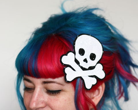 Glitter,Skull,and,Cross,Bones,Hair,Clip,,Choice,of,colours,available,Skull and cross bones, pirate, hair clip, costume, glitter