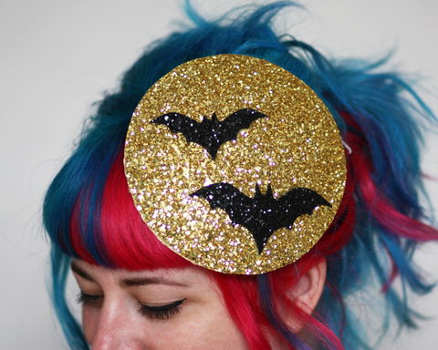 Halloween,Bat,Fascinator,,Glitter,Moon,with,Bat,,Various,Colours,Available,bats, halloween, fascinator, glitter