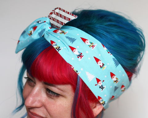 Christmas,Reversible,Wired,Bow,Headband,,Gnomes,and,Candy,Canes,dolly bow headband, wired, tie hair band