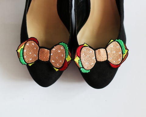 Burger,Bow,Shoe,Clips,,Fast,Food,Accessories,shoe clips, geek, cute, junk food