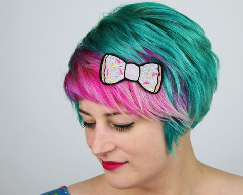 Donut,Fast,Food,Bow,Hair,Clip,Accessories,Hairclip,fastfood, bow, bowhairclip