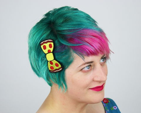 Pepperoni,Pizza,Fast,Food,Bow,Hair,Clip,Accessories,Hairclip,fastfood, bow, bowhairclip