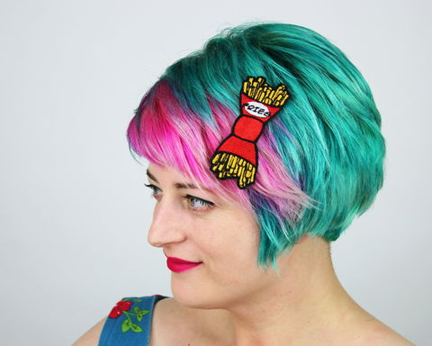 Fries,Fast,Food,Bow,Hair,Clip,Accessories,Hairclip,fastfood, bow, bowhairclip