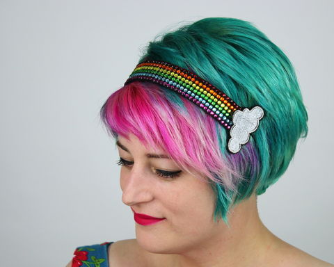 Rainbow,Rhinestone,Headband,Accessories,Hair,womans_headband,bow_headband,adult_headband,rhinestones,sparkle_bow,kitty_bow,bow,cute_bow,kawaii_bow,cute_headband,yellow_bow,yellow_bow_headband