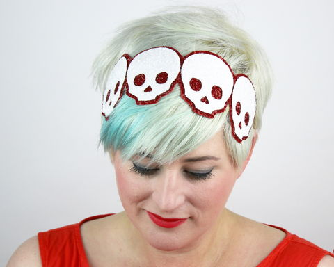 Skulls,Headband,,Glitter,,Various,Colours,Accessories,Hair,Headband,glitter,sparkly,fun,janinebasil,uk,halloween