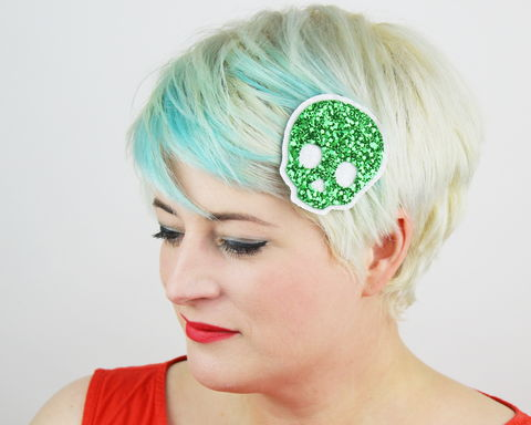Glitter,Skull,Hair,Clip,,Choice,of,colours,available,Skull , pirate, hair clip, costume, glitter