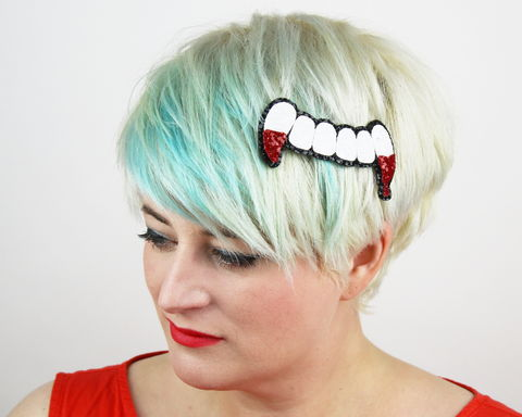 Bloody,Vampire,Teeth,Hair,Clip,,Glitter,death, cute, glitter, headband, halloween, spooky, gory, bloody, vampire teeth