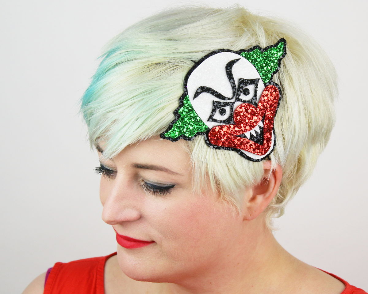 Halloween Creepy Clown Headband, Glitter - product images  of